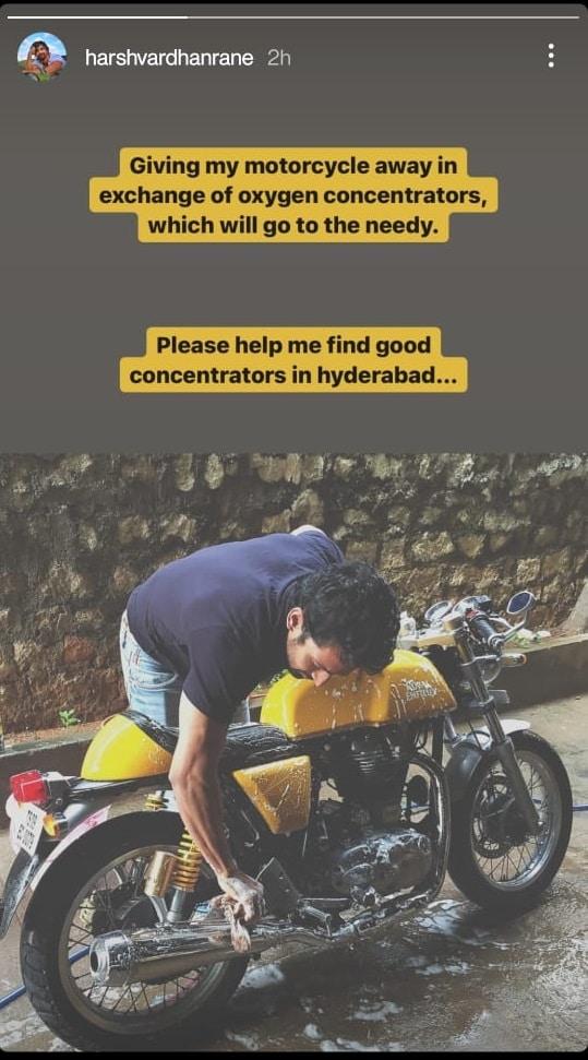 Harshvardhan Rane on Instagram Stories.
