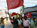 Left supporters celebrate the party's win in Kerala. (ANI Photo)