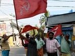 LDF supporters celebrate the party's victory during the election result day for the Kerala Assembly Polls, in Thiruvananthapuram on Sunday. (ANI Photo)