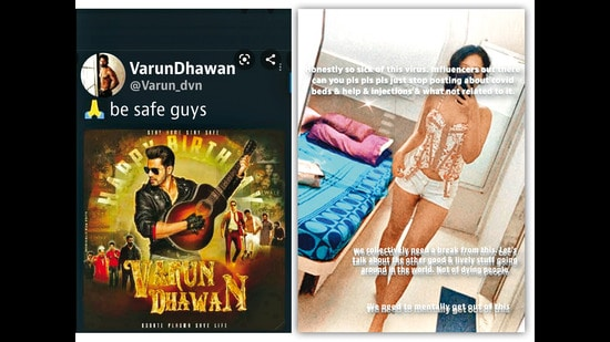(Left) Varun Dhawan's deleted post, which he took off saying it was ill-timed due to the Covid crisis; (Right) A controversial post by beauty influencer Priyam Joshi, requesting people to not post about Covid resources on Instagram