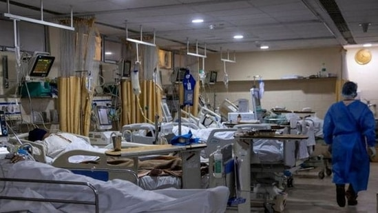 Patients suffering from the coronavirus disease are seen inside the ICU ward at Holy Family Hospital in New Delhi,