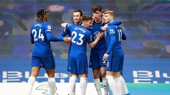 Chelsea's Kai Havertz celebrates scoring their first goal with teammates.(Pool via REUTERS)