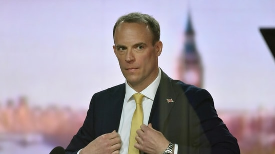 Britain's Foreign Secretary Dominic Raab attends BBC TV's The Andrew Marr Show in London, Britain.(via Reuters)