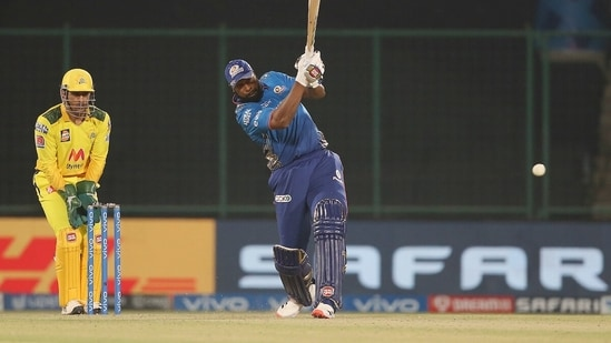 Kieron Pollard plays a shot during the match between the Mumbai Indians and the Chennai Super Kings at the Arun Jaitley Stadium. (ANI Photo/IPL Twitter)