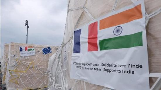 The special cargo with 28 tonnes of medical equipment arrives in India. (Photo: Twitter)
