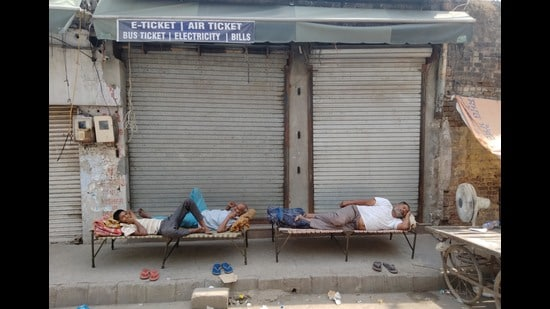 Shops closed during the weekend lockdown in Amritsar on Sunday. (Sameer Sehgal)