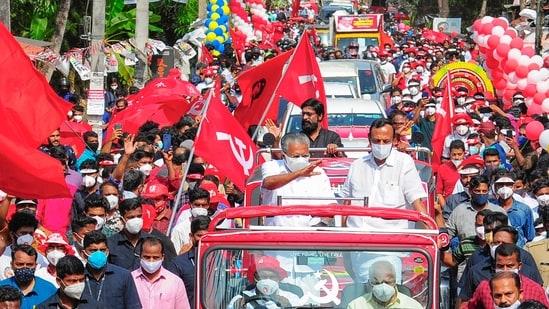 Kerala CM Pinarayi Vijayan during a road show in Kannur on April 4. (PTI Photo) (PTI)