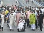 TMC chief Mamata Banerjee during a roadshow in Kolkata. (PTI Photo/Swapan Mahapatra)(HT_PRINT)