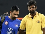 CSK captain MS Dhoni (L) and bowling coach L Balaji(Twitter)