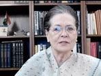 Congress leader Sonia Gandhi speaks in a video message in New Delhi. (PTI)