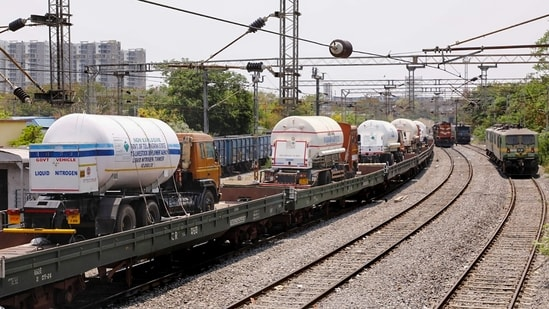 """""""A Ro-Ro (roll on roll off) service carrying four tankers loaded with liquid medical oxygen left from Hapa in Gujarat at 6:37am on May 3 and will reach Gurugram in Haryana in the morning of May 4,"""" the Western Railway said.(PTI 