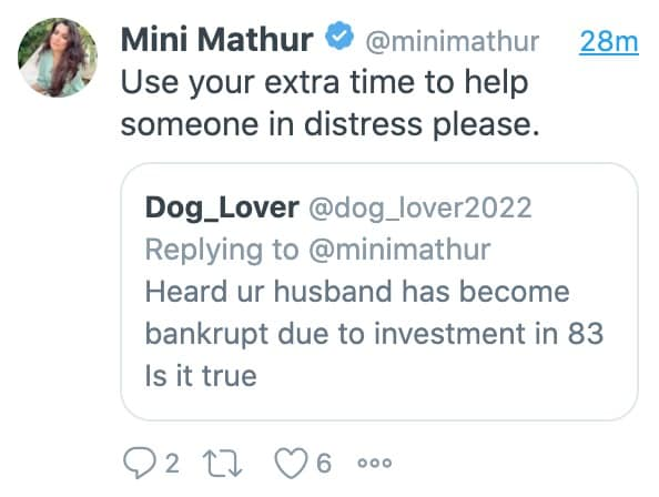Mini Mathur's reply to the troll.