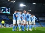 Manchester City players celebrate Riyad Mahrez's second goal against PSG at the Eithad Stadium during their UEFA Champions League match.(Twitter/Champions League)