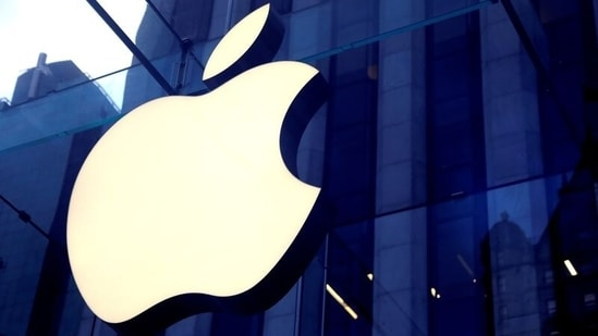 The Apple Inc logo is seen hanging at the entrance to the Apple store on 5th Avenue in Manhattan, New York, U.S., (REUTERS)