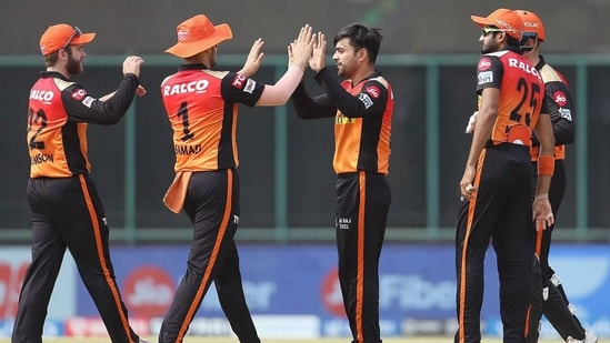 Rashid Khan celebrates the wicket of Yashasvi Jaiswal during the match between the Rajasthan Royals and the Sunrisers Hyderabad. (ANI Photo/IPL Twitter)