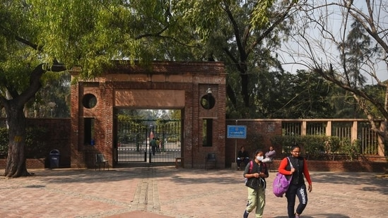 """In a notification issued on its official twitter handle on Tuesday, the university said, """" University of Delhi suspends online classes till 16th May 2021 in view of the surge in Covid-19 cases.""""(HT file)"""
