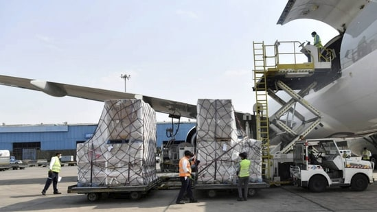 Fourth consignment of medical supplies containing 60 ventilators arrives from the United Kingdom, at Indira Gandhi international airport in New Delhi on Monday.(PTI)