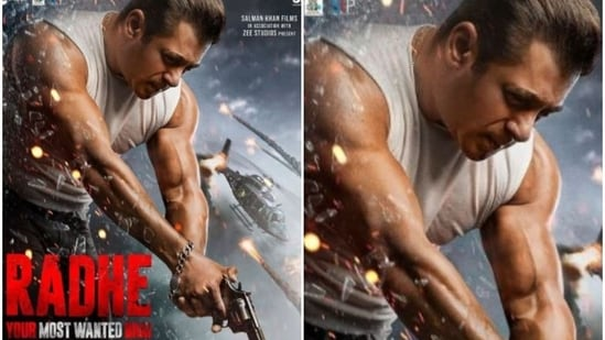 Salman Khan in a poster from Radhe Your Most Wanted Bhai.