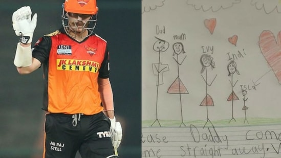 David Warner and his children's note after IPL 2021 was suspended.