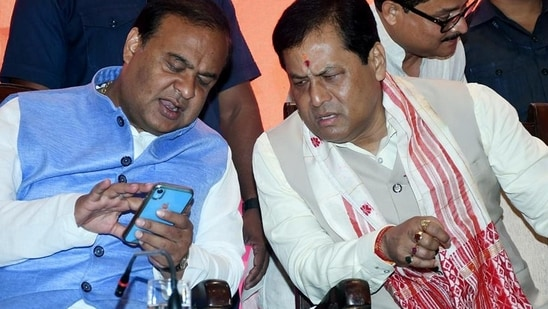 Both Himanta Biswa Sarma and Sarbananda Sonowal held separate meetings. (ANI)(HT_PRINT)