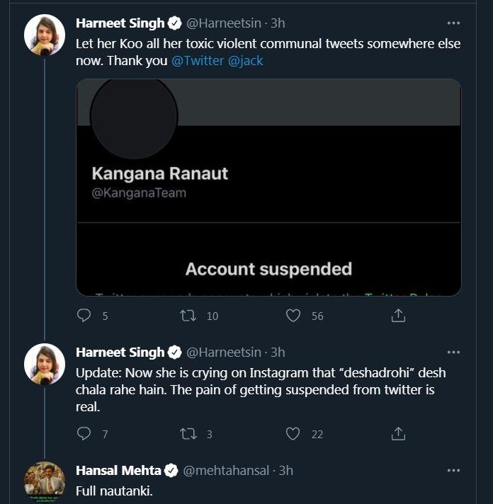 A screen shot of Hansal's response.