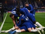 Chelsea players celebrate after Mason Mount scored against Real Madrid in the second leg of their UEFA Champions League semifinals clash.(Twitter/UCL)