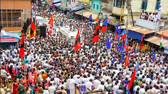 DMK women's wing secretary Kanimozhi during an election campaign rally in support of party candidate ahead of Tamil Nadu assembly polls, in Tenkasi district on April 2. (File photo)