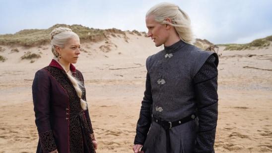Emma D'Arcy and Matt Smith as Princess Rhaenyra Targaryen and Prince Daemon Targaryen in House of the Dragon.