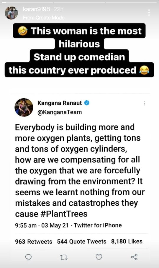 Karan Patel on Instagram Stories.