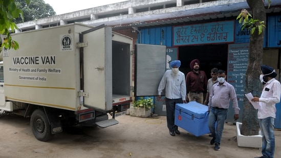 Covid 19 vaccines being dispatched to various districts of Punjab from the state vaccine store in Sector 24, Chandigarh. (Photo by Ravi Kumar / Hindustan Times)