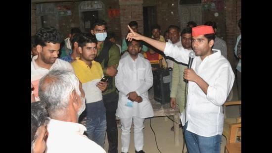 File photo SP chief Akhilesh Yadav's cousin Aryan Yadav campaigning for the elder brother Abhishek Yadav in Saifai. Abhishek Yadav, the sitting zila panchayat member from Saifai 2 won the elections third time in row. (Sughar Singh/Saifai)