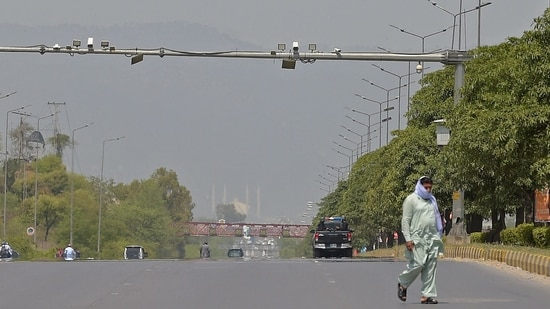 A deserted road in Pakistan's capital Islamabad