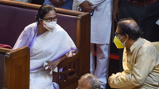 TMC supremo and West Bengal Chief Minister Mamata Banerjee with party leader Biman Bandopadhyay during the swearing-in ceremony of the newly elected MLAs in the State Legislative Assembly, Kolkata. (PTI Photo)
