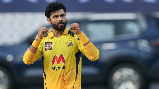 Ravindra Jadeja celebrates the wicket during match 19 of the Indian Premier League 2021.(PTI)