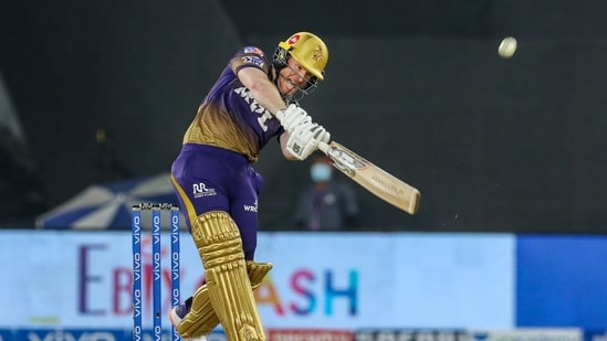 Eoin Morgan during match 21 of the Indian League 2021.(PTI)
