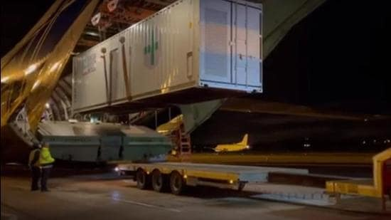The oxygen generation plants from the UK's surplus stocks and 1,000 ventilators will be ferried from Belfast on Friday by an Antonov An-124 aircraft. (PHOTO: UK FOREIGN OFFICE.)