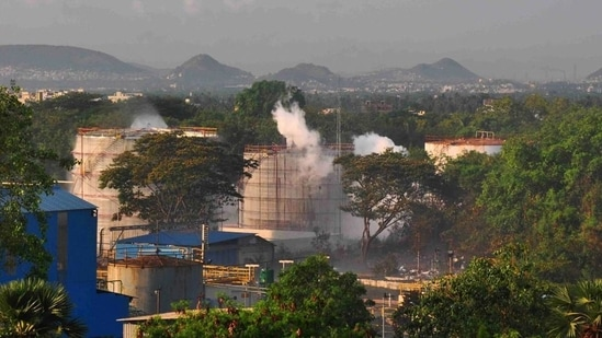 On May 7 last year, poisonous Styrene gas leaked from one of the tanks at LG Polymers Ltd due to sudden rise in temperature at the bottom of the tank at around 3.30 am. In picture - Gas leak at LG Polymers chemical plant.(PTI)
