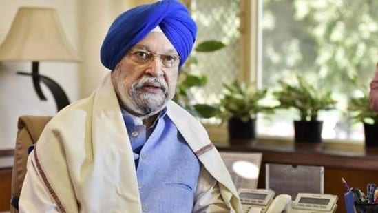 """""""Central Vista is just another ongoing project. It's only the Congress that's obsessed about it, nobody else,"""" Hardeep Puri said.(PTI)"""