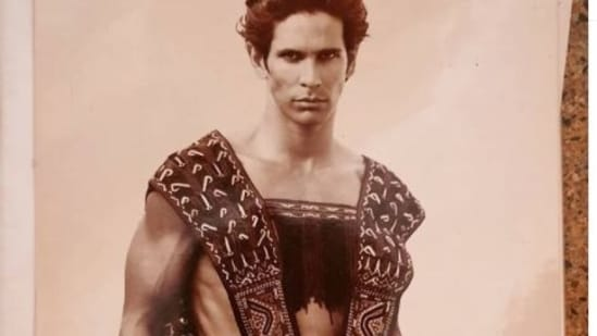 Milind Soman poses in the throwback picture.