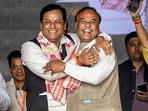 Sarbananda Sonowal (left) and Himanta Biswa Sarma are contenders for the top post of the Assam government.(PTI)