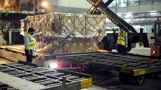 A shipment of vital medical supplies from the United Kingdom, including 100 ventilators and 95 oxygen concentrators, arrived in India.(ANI)