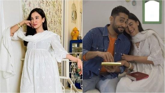 Gauahar Khan in white ethnic attire(Instagram/ gauaharkhan)