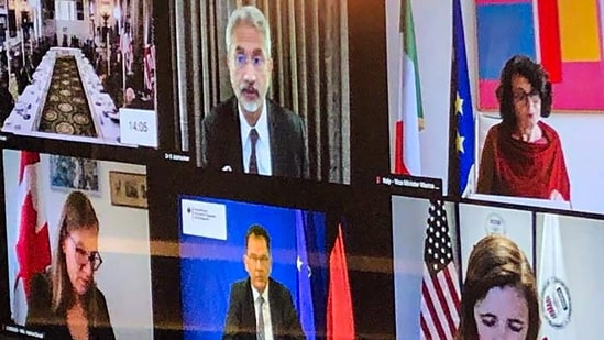 External affairs minister S Jaishankar attends a virtual meeting with foreign ministers during the G7 summit.(PTI/Twitter)