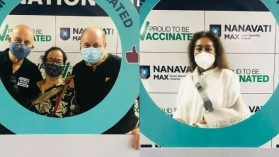 Anupam Kher, Kirron Kher and their family get second dose of coronavirus vaccine.