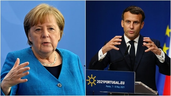 French President Emmanuel Macron reprimanded the US and the UK on Friday for blocking the export of shots and the raw materials needed to make them.(Reuters)