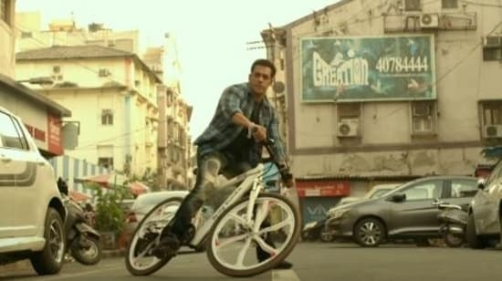 Salman Khan in a still from the new Radhe promo.