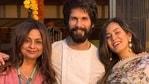 Neliima Azeem poses with Shahid Kapoor and Mira Rajput.