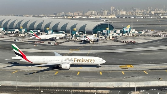 Emirates airliners are seen on the tarmac in a general view of Dubai International Airport in Dubai, United Arab Emirates.(Reuters)