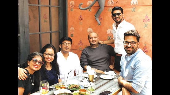 Bandana, Sharad and Bhavesh at a Mumbai restaurant with their friends. They started their journey at Balaji Telefilms as writers and moved on to work independently.