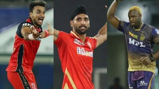 Harshal Patel of RCB (left), Harpreet Brar of PBKS (centre), and Andre Russell of KKR.(IPL/HT Photo)